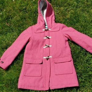 Boden Pink Duffle Coat with Hood